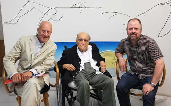Director Gary Hustwit (right) with architects Sir Norman Foster & Oscar Niemeyer