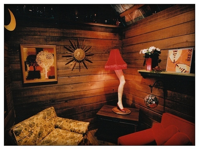 """Interior view of The Love Shack. The leg lamp is inspired by the film """"A Christmas Story."""""""