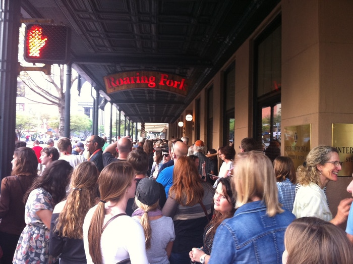 Audience awaits the Blue Like Jazz world premiere outside the Paramount Theater