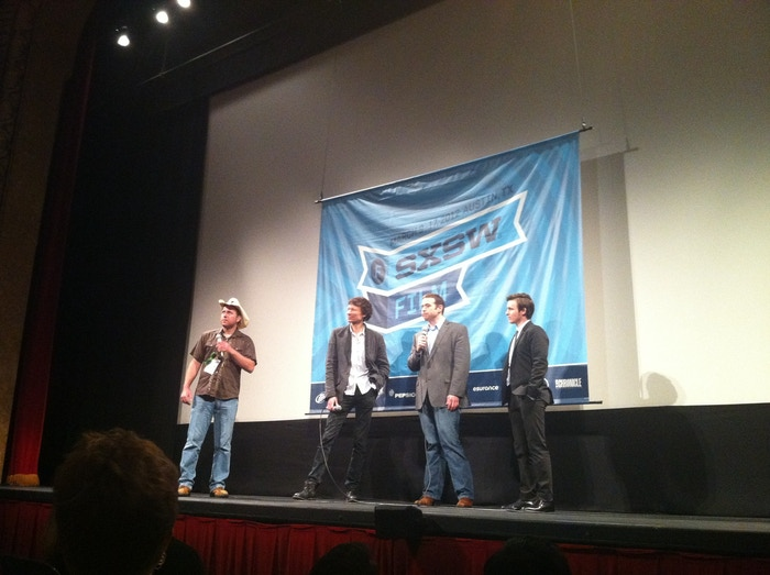Steve Taylor, Donald Miller, and star Marshall Allman at the Blue Like Jazz Q&A