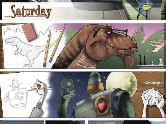 """Panel illustrations from the graphic novel """"Saturdays."""""""