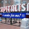 """Steve Lambert's """"Capitalism Works for Me!"""" installation in Boston."""