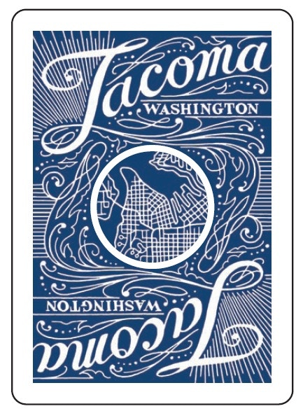This is what the back of the cards will look like.  Note the map of Tacoma in the center and the beautiful hand illustrated design and lettering by Chandler O'Leary.  This image defines the deck.