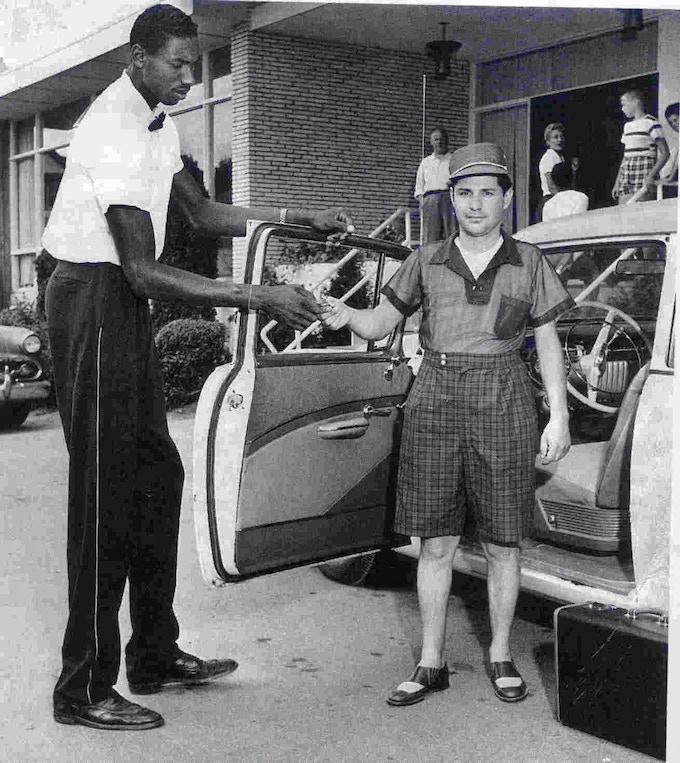 Wilt Chamberlain working as a Kutsher's Bellhop