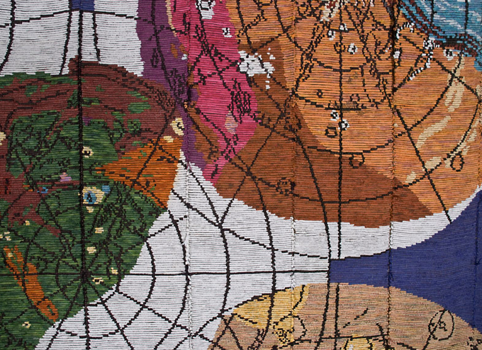 """Detail of Sherri Smith's """"Major Moons of an Outer Planet"""" / 6' x 6' / woven fiber / 2010"""