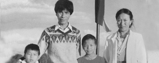 Tenzing as a kid with his family in Nepal