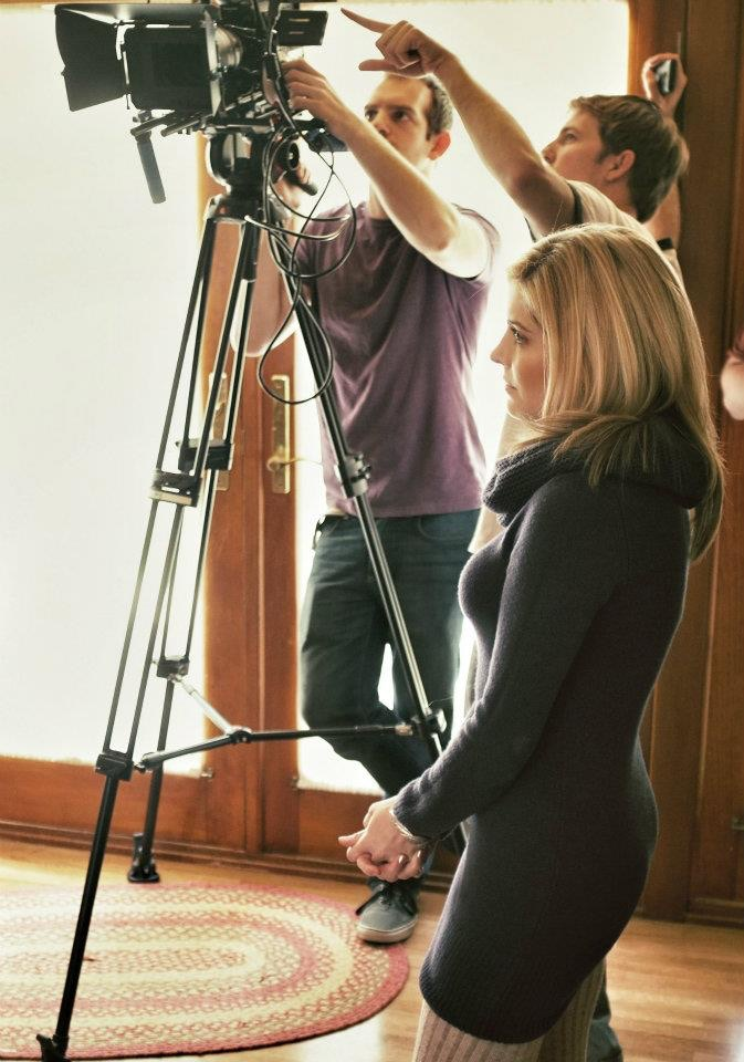Jen Lilley on the set of Turnaround Jake with Director Jared Isham.