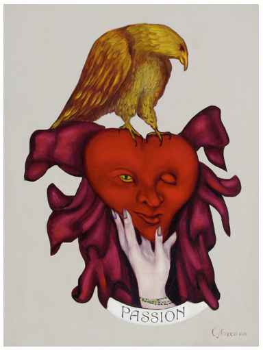 "The Ace of Hearts, ""Agana,"" 18"" x 24"" oil on canvas."