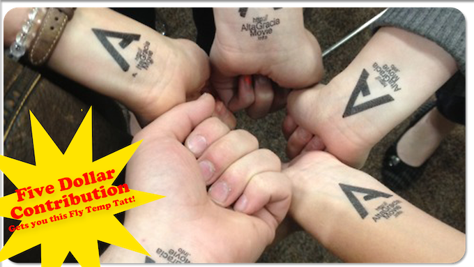 Make a five dollar contribution and you will get a letter of thanks with a temp tatt enclosed!