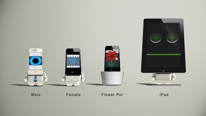 4 Bases - Male [tie not included], Female, Flower Pot and iPad Male.