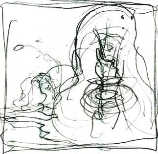 """Rough for """"Npobb's Meal"""" (Caption: """"While Npobb was scarfing the penguins, I flung the bloater across the island."""")"""