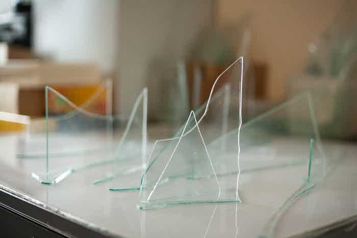 Glass pieces for Ice Gouge, Glass and Video Sculpture, from Untitled Antarctica, Melissa F. Clarke, 2012