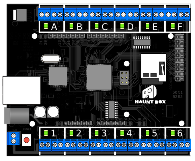 The final production Hauntbox PCB and form factor