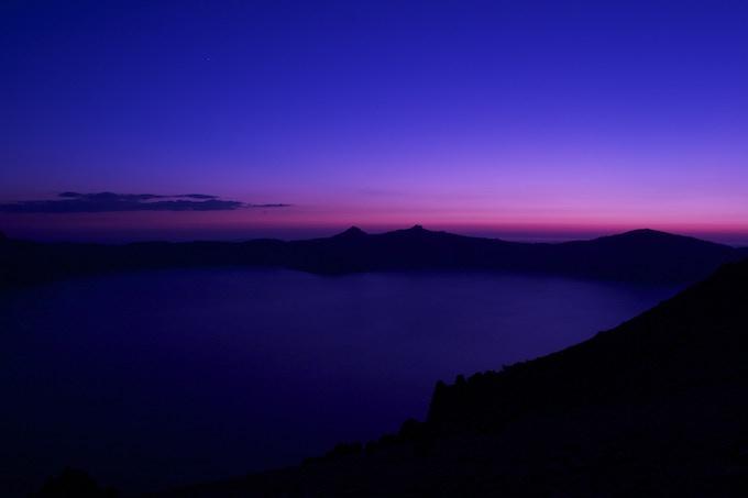 Crater Lake at sunset.