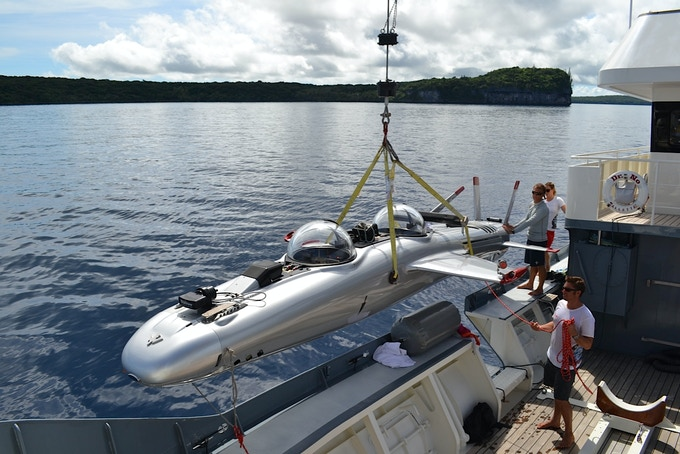 Super Falcon launching for dive from M/Y Dr. No, New Caledonia, April 2012