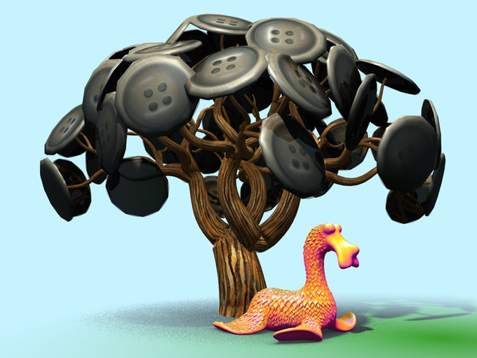 """Slatherpuss"" Print Series: ""Button Tree"""