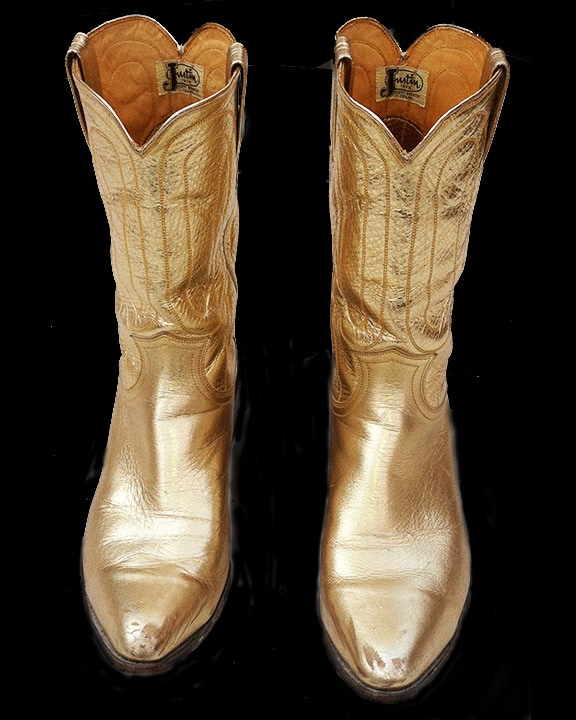 Deal #16. Fabled gold cowboy boots. Custom made for country music star Hoyt Axton. Hoyt Axton gave them to author Ken Kesey. Ken Kesey gave them to Ed McClanahan. Full provenance below!