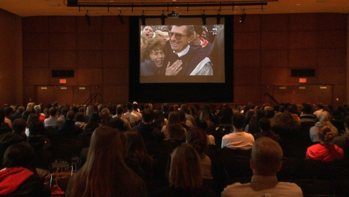 'Memorial for Joe' being watched by hundreds in the HUB student center in January.