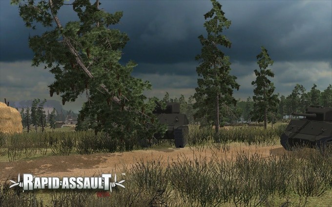 Trees are among the growing number of terrain objects which are destructible in Rapid Assault.