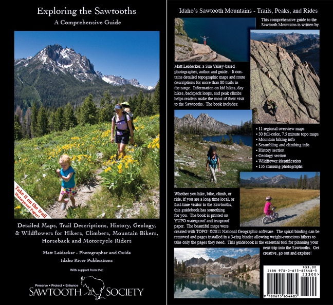 The front and back cover of Exploring the Sawtooths.