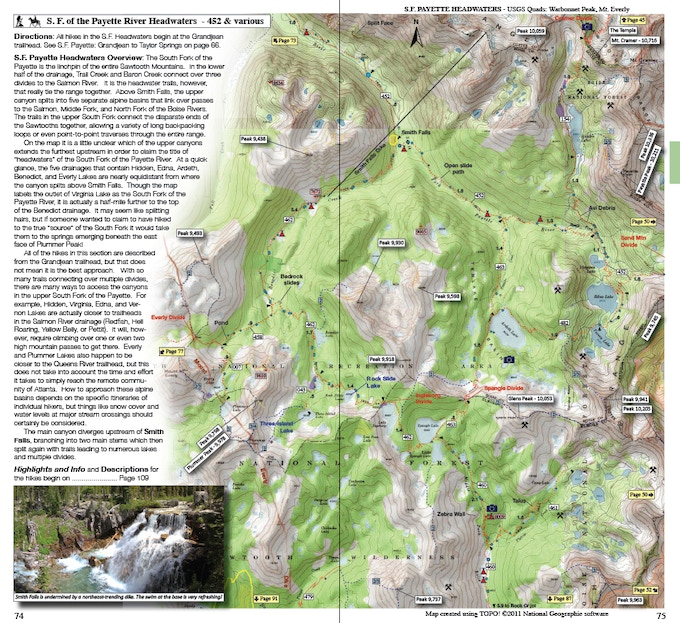 Sample map and trail description (page 74-75)