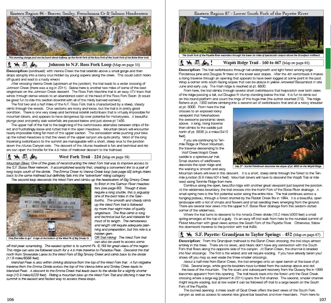 Overflow hiking descriptions (page 106-107)