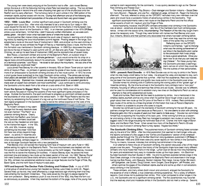 Sample spread from Climbing History section (page 132-133)