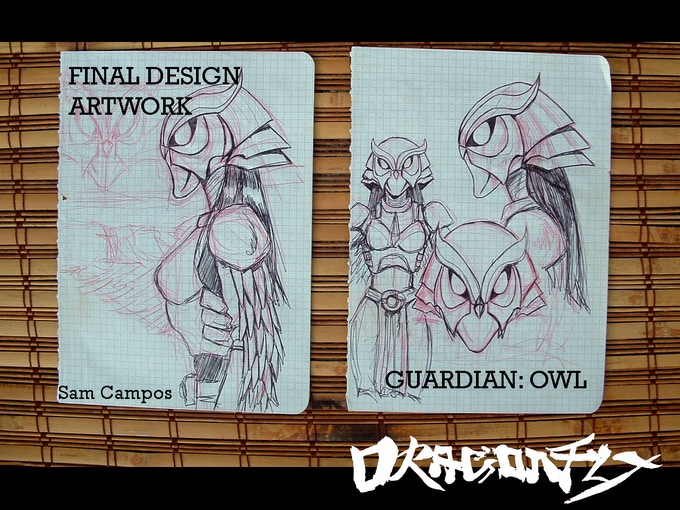 Original artwork by Sam Campos.  The pages that have the final concept design for the Owl Guardian.  2 pages