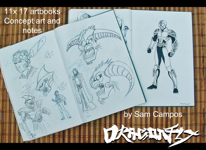 11x17 Blue Line Pro art books.  Both books contain the concept drawings and notes for DRAGONFLY.  Artwork by Sam Campos