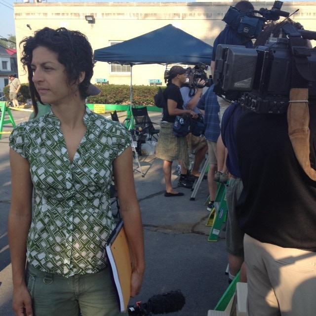 Melissa Fleischman, Social Media Producer, ready to enter courtroom to take copious notes.