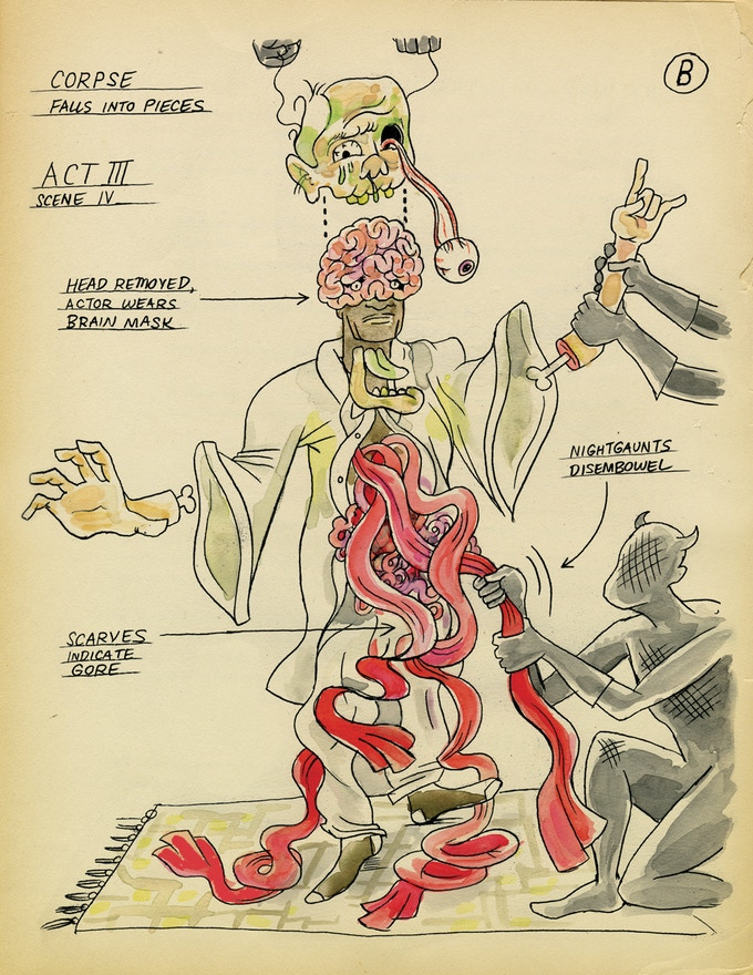Production sketch B of the animate corpse of Francis Wayland Thurston (Act 3).