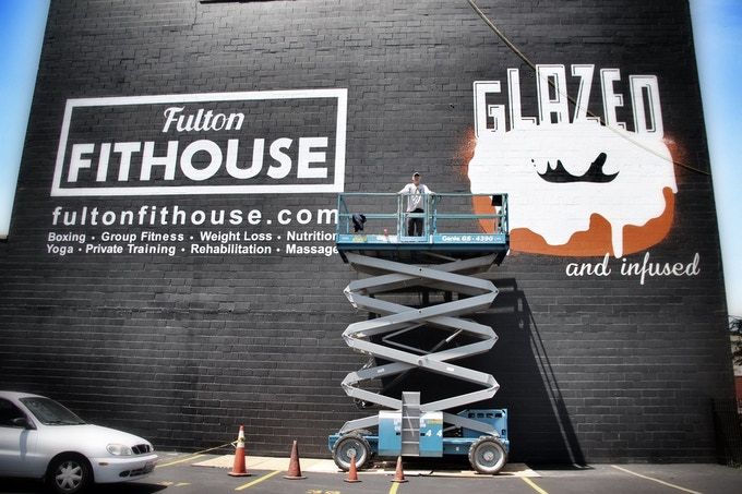 18' Doughnut - Hand Painted Wall Lettering in Chicago, IL