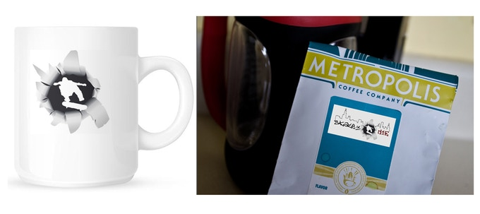 $75+ Incentive - a bag of 'Skate or Die' beans from Metropolis Coffee, one of Chicago's premier coffee companies and a 'Skate or Die' coffee mug. Please note that the above images are sample mockups and the final packaging/mug may look different.