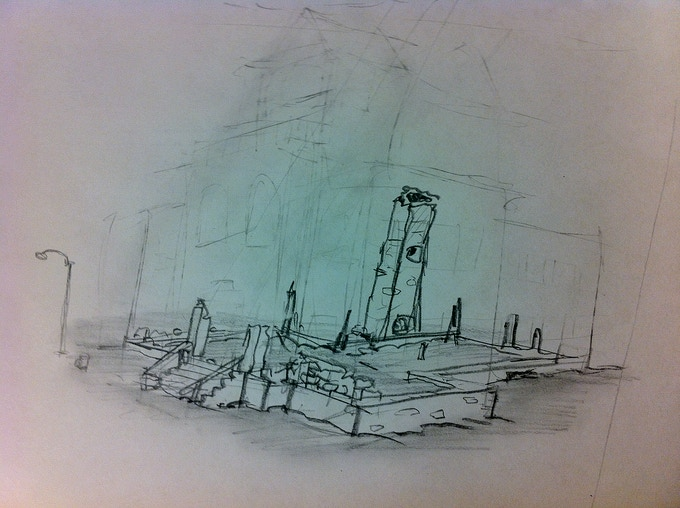 """""""Dunwich Armory Sketch #11, Looking Northeast from Marker 327"""" 2011, grease pencil on plastic board, 8"""" x 11"""""""