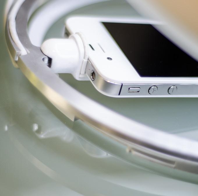 Open access to headphone jack, with prototype EVA Foam pad on slider