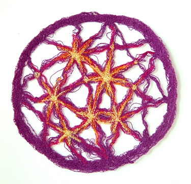 "4"" stitched Supercluster Lens. Can be hung with a sewing pin or use a hanging suction cup to attach it to glass for a thread suncatcher."