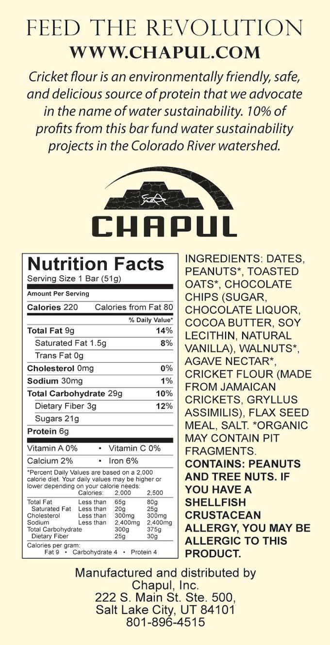 Chaco Bar -- nutritional panel