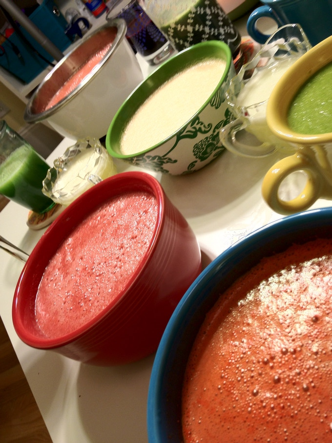 An assortment of fresh juices and smoothies.
