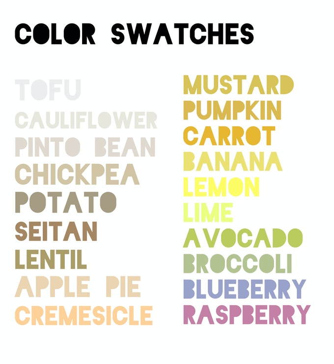 The above posters can be customized to any of these colors! (Available at the $50, $150, and $200 levels.)