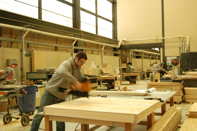 Stephen nailng a formwork segment