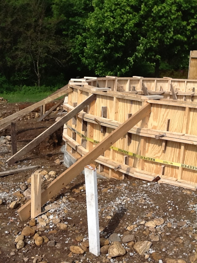 Well braced formwork, Thanks to Bulley Andrews for the wedges!