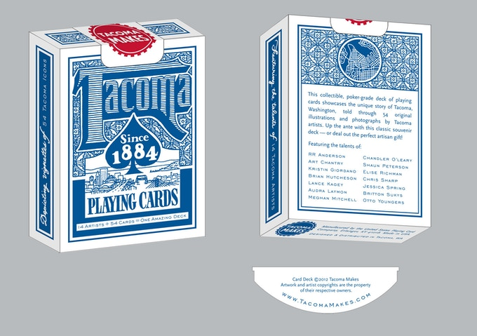 Mock-up of the Tacoma Playing Cards Box by Chandler O'Leary