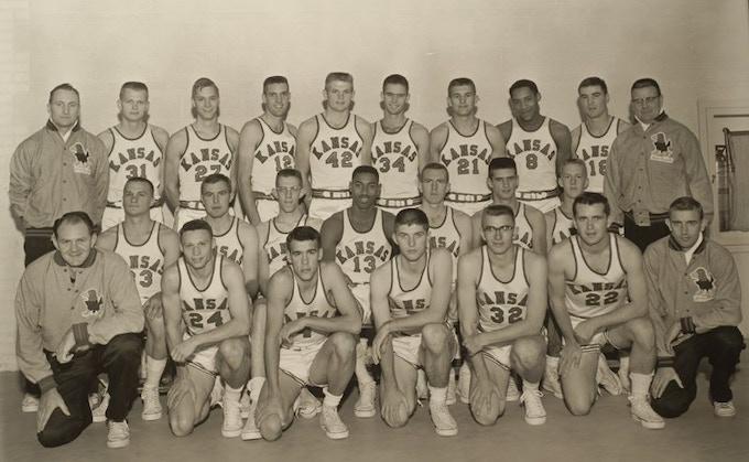 A team photo of the 1956-57 Kansas University squad.