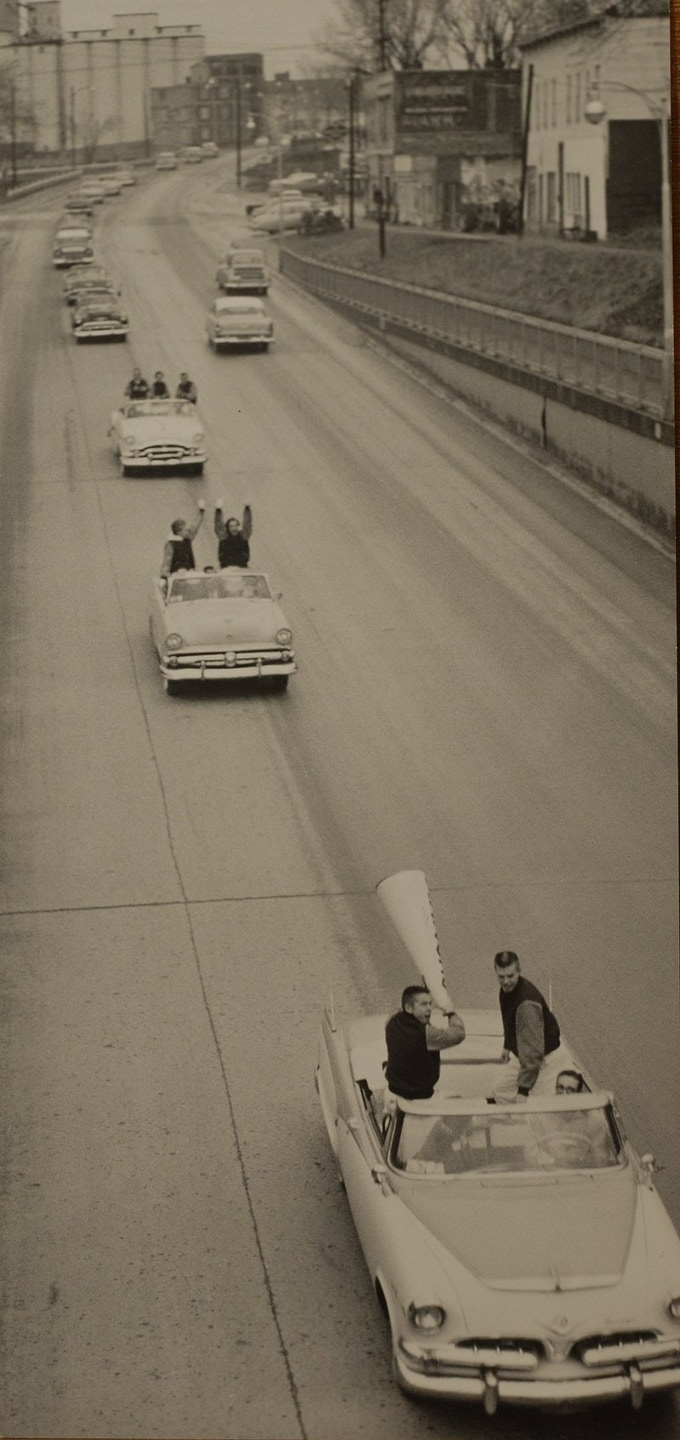 Kansas University fans leave in a caravan down N. 2nd Street for the National Championship game between KU and North Carolina in Kansas City, Mo., on March 23, 1957.