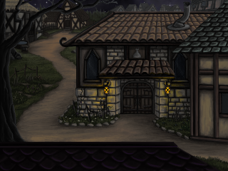 The Apothecary in the Village of Volksville at night
