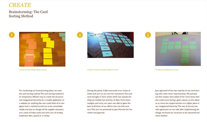 Card sorts used to identify mental models and develop basic information architecture.