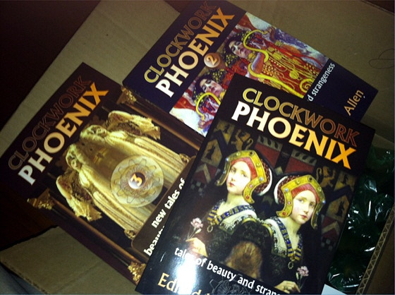 The complete set of CLOCKWORK PHOENIX books to date in trade paperback