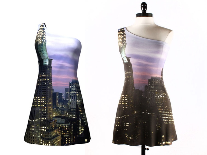 A truly NYC dress. 3D design preview is on the left, finished dress on right.