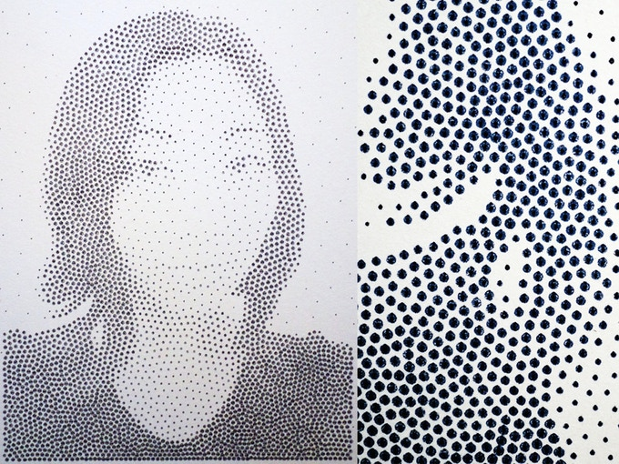 """$75-- A plotter-drawn dot print from your photo of choice. 14"""" X 20"""", drawn with archival ink on 2-ply coldpressed paper. See in the closeup how it's ink pen drawn on paper, for true '80s grade technological beauty."""