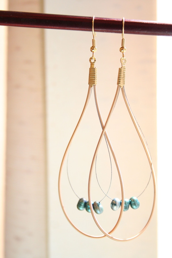 Raindrop earrings made from upcycled guitar strings!